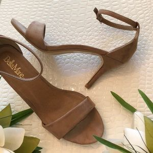 Brown Faux Suede Ankle Wrap Open Toe Sandals
